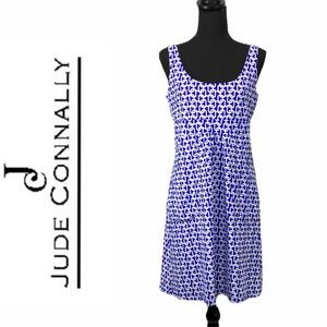 Jude Connally blue & white chain sleeveless dress